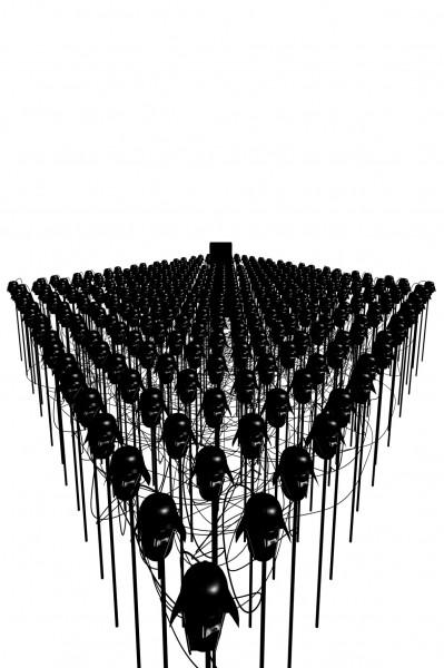 Fabien Giraud & Raphaël Siboni, Last Manœuvres in the Dark, 2008. Terre cuite, intelligence artificielle, acier. Courtesy des artistes