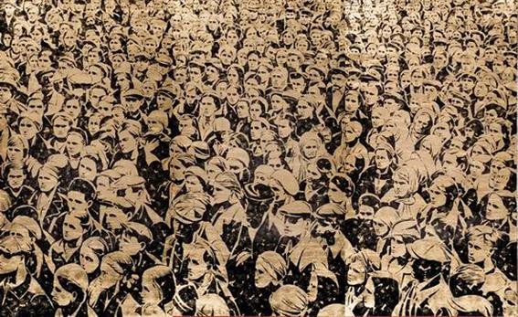 Alexei Belyaev-Gintovt, Frères et soeurs, encre noire et or sur toile, 2008 (l'oeuvre qui a remporté le Prix Kandinsky)