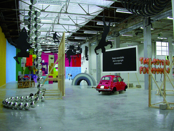 "Bruno Peinado. Vue de l'exposition ""Perpetuum Mobile"", Palais de Tokyo, Paris, 2004, Photo: Fabrice Gousset ©ADAGP, 2009 / Courtesy Galerie Loevenbruck, Paris"