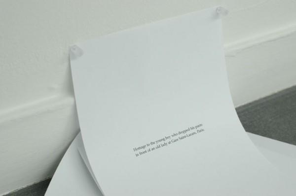 Jimmy Robert, Sans titre, 2007 (détail). Jet d'encre sur papier Arche. Papier A4. Texte. 18 x 25 cm