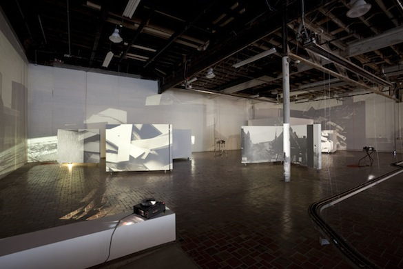 Tris Vonna-Michell, Auto – Reverse (From the work Studio A, 2008 – 2009), 2009. Installation view, Museum of Contemporary Art Detroit.