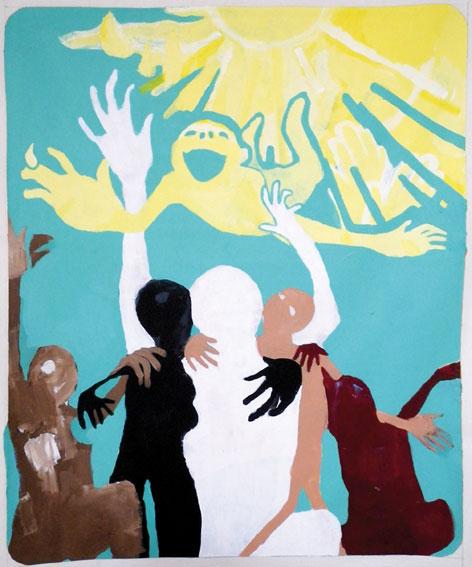 Scoli Acosta Sunshine Acrylique sur toile, bois, colle à bois, fil, clous. 76.5 x 63 cm. Courtesy de l'artiste et de la galerie Laurent Godin