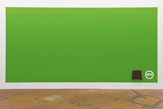 IFP Grande Surface, 1987-2010. Peinture acrylique (murale) et strapontin marron. Collection Le Consortium, Dijon. Photo : Ilmari Kalkkinen - Mamco, Genève.
