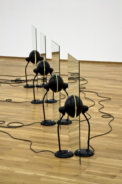 Alicja Kwade Parallelwelt 1, 2008 eight Kaiser-Idell lamps, eight mirrors 98 x 392 x 56 cm 38 1/2 x 154 1/4 x 22 in Unique