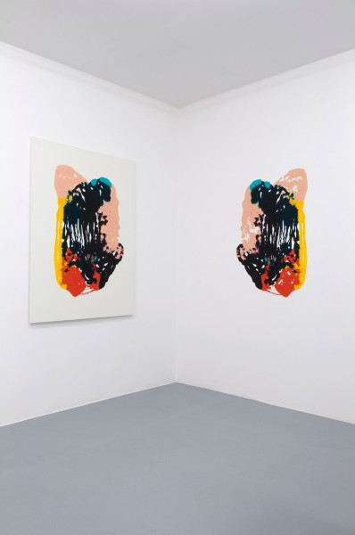 Dan Rees 'Cadmium Yellow, Medium Hue, Flesh Tint, Dioxazine Purple, Bright Aqua Green, Red Vermillon, Payne's Gray, Phtalocyanine Green and a Little Bit Of Black', 2010 Acrylic on canvas and wall (installation view at New Galerie, Paris) Courtesy the artist and Tanya Leighton Gallery, Berlin and New Galerie, Paris