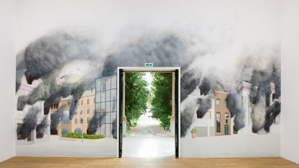 DELLER / Royaume-Uni. Jeremy Deller, St Helier on Fire (following a riot against Jersey's status as a tax haven). Photo: Cristiano Corte