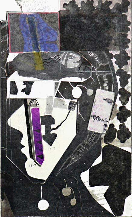 Ray Johnson, Andy Chartreuse Fabric Dear Jacques Derrida 1960-1979, 10 août 1991. Collage, 31.3 x 19.4 cm. Collection particulière © Droits réservés