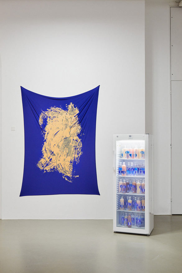 Pamela Rosenkranz - Purity You Can Taste (Ultra Strong Contents), 2013. Acrylic on Spandex, 220 x 165 cm. Purity of Vapors, 2012. Silicon, pigments, SmartWater bottles, fridge 60 x 164,5 x 65 cm. Installation view Fridericianum © Photo, Achim Hatzius. Courtesy Pamela Rosenkranz and Karma International, Zurich.
