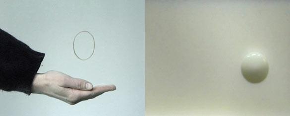 Edith Dekyndt, Slow Object 04,1997. Videoprojection, 9'15'', 720 x 576 mini dv, boucle, pas de son / loop, silent. Photo : Pierre Henri Leman. Slow Object 05,2004. Videoprojection, 7'02'', 720 x 576 mini dv, boucle, pas de son / loop, silent. Photo : Pierre Henri Leman.