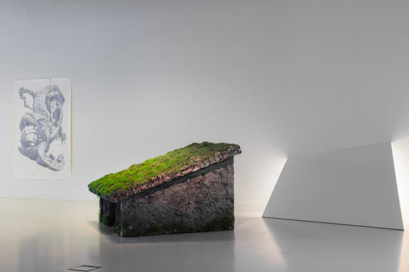 ExpositionEtrange nature, Le Pavillon Blanc, Colomiers, 25.01>26.04.2014. Photo Y. Gachet. (A gauche : Kate Atkin, Starling, 2012 ; à droite : Emilie Benoist, Macro-monde, 2013.)