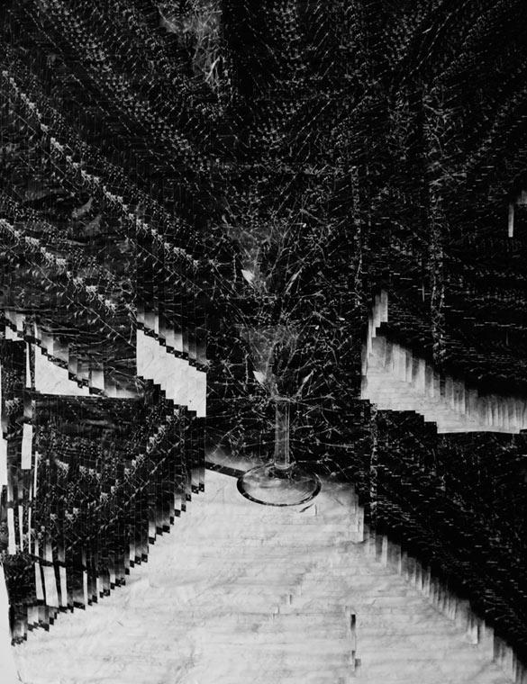 Jurgen Ots, Denoting Frenzy, 2008-09 (détail). Installation, dimensions variables / variable dimensions, vinyle, papier, métal / vinyl, paper, metal. Établissement d'en face projects; courtesy Jurgen Ots; Elisa Platteau.