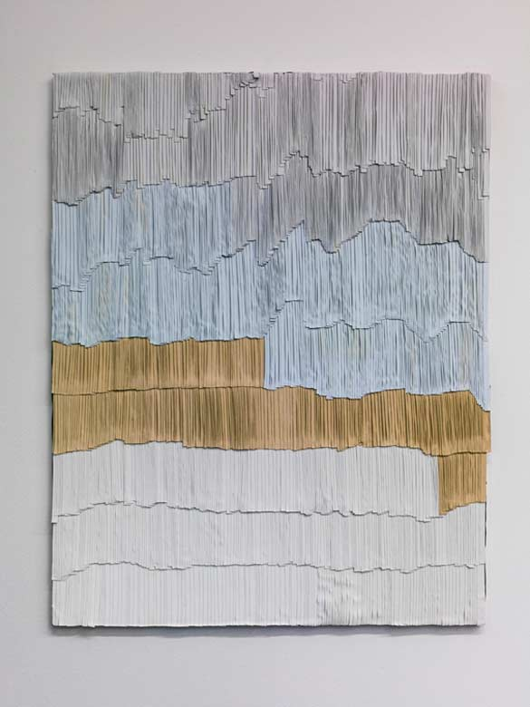 Jurgen Ots, Periaqueductal Gray, 2012-2013. Ecrans de projection anciens, colle / Vintage projector screens, glue ; 104 x 131,5 x 2,5 cm. Courtesy collection privée / Private Collection; Copyright Jurgen Ots.