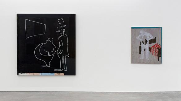 Vue de l'exposition / Exhibition view of Walter Swennen: «So Far So Good» (05.10.2013 – 26.01.2014), WIELS. Avec / with: Untitled (Les regardeurs), 1990; Inner, 2006. Photo: Kristien Daem.
