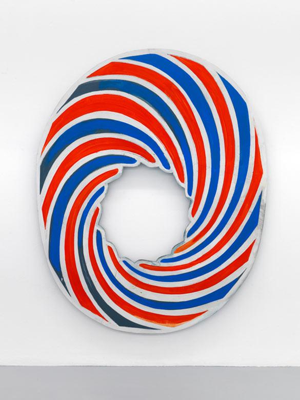 """Blair THURMAN, """"Pop-Sirkle (CCKSCKR Hat #2)"""", 2011. Peinture acrylique et café sur bois / Acrylic and coffee on wooden panel - 190 x 150 x 18 cm / 74 3/4 x 59 1/16 x 7 1/8 inches. Private Collection, Courtesy Galerie Triple V, Paris."""
