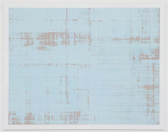 """Eric BAUDART, """"Papier Millimétré"""" / """"Graph Paper"""" (and detail), 2014. Papier millimetre, encadrement / Graph paper, frame - 150 x 193 x 25 cm / 59 1/16 x 76 x 9 ¾ inches. Courtesy Galerie Valentin, Paris."""