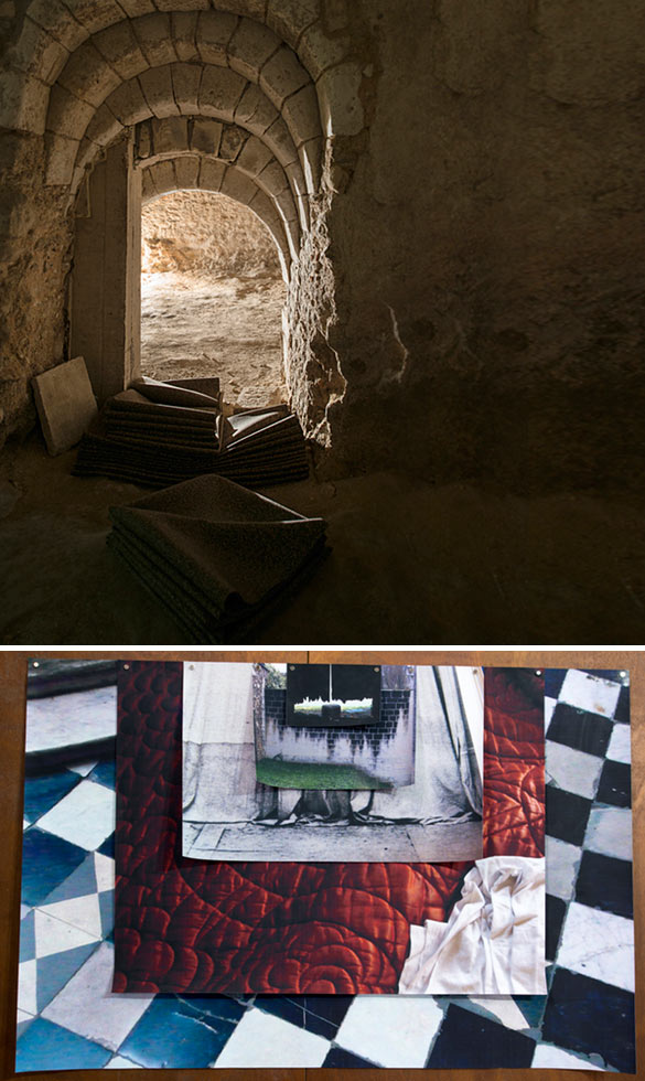 """Vue de l'exposition """"Si personne ne me voit je ne suis pas là du tout"""" de Guillaume Constantin au Cryptoportique, à Reims jusqu'au 22 juin 2014 © Photographe : Martin Argyroglo."""