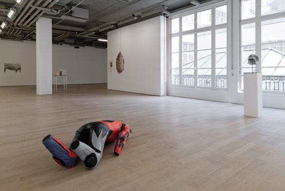Vue de l'exposition « humainnonhumain »: au premier plan Alexandra Bircken, Storm, 2013, techniques mixtes, 52 x 131 x 63 cm, courtesy galerie BQ, Berlin.