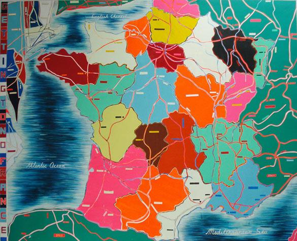 Jules De Balincourt, Getting to No France, 2008. Huile et acrylique sur bois, 243,8 x 304,8 cm. Courtesy de l'artiste et de la galerie Thaddaeus Ropac (Paris-Salzburg).