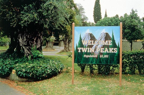 Philippe Parreno, No More Reality (Twin Peaks), 1991, acrylique sur bois / acrylic paint on wood, 250 x 195 x 100 cm. Vue de l'exposition / View of the exhibition «No Man's Time», Villa Arson, Nice, 1991. © Philippe Parreno, photo: DR.