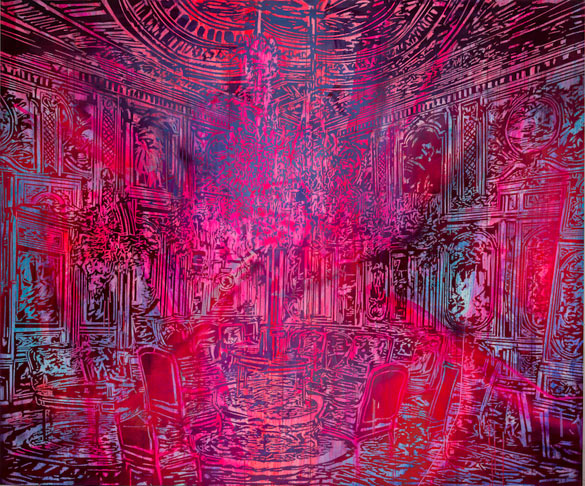 Rosson Crow, Psychic Shift in the Blue Room, 2013. Acrylique et huile sur toile, 228,6 x 274,3 cm. © Joshua White, courtesy Galerie Nathalie Obadia, Paris/Bruxelles.