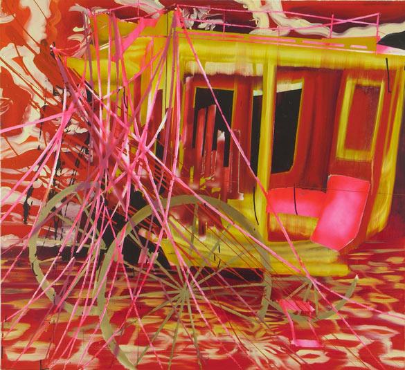 Rosson Crow, Concord Coach, 2005. Huile et acrylique sur toile, 116,8 x 127 cm. © Joshua White, courtesy Galerie Nathalie Obadia, Paris/Bruxelles. Collection A et M Oliveux, Orléans