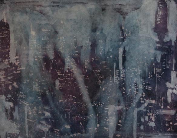 Rosson Crow, The Gloaming, Bleach, 2012. Teinture et eau de javel sur toile, 213,36 X 274,32 X 2 cm. © Joshua White, courtesy Galerie Nathalie Obadia, Paris/Bruxelles