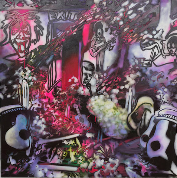 Rosson Crow, Some Go to Mecca, We Go to Graceland, 2014. Huile et acrylique sur toile, 198,12 x 198,12 cm. Courtesy Galerie Nathalie Obadia, Paris / Bruxelles. Vue de salle. Musée régional d'art contemporain, Sérignan. Photo: J-P Planchon.