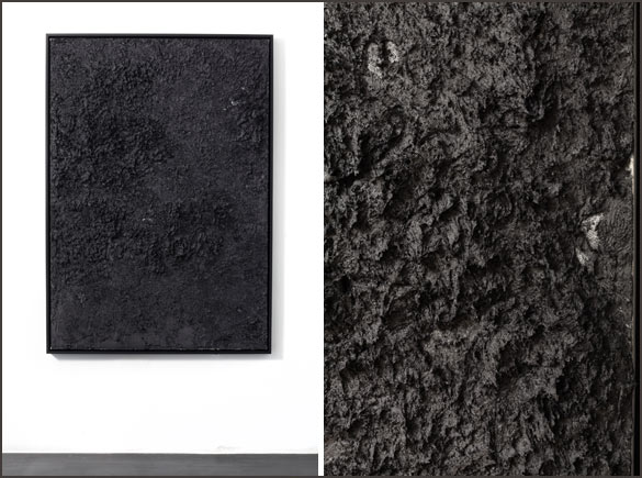 Jason Loebs. Untitled, 2014. Graisse thermique sur toile / thermal grease on canvas, 157.48 x 111.76 x 5.08 cm, (droite/right, detail). Courtesy Jason Loebs ; Essex Street, New York.