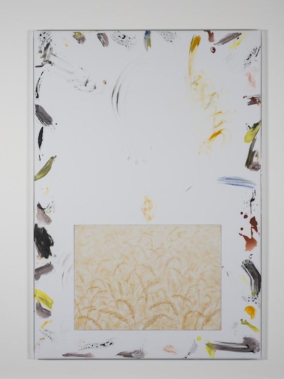Will Benedict, Untitled, 2014. Gouache sur toile et panneau de mousse, verre, aluminium / Gouache on foamcore and canvas, glass, aluminium, tape, 155 x 108 cm. Collection privée / Private collection