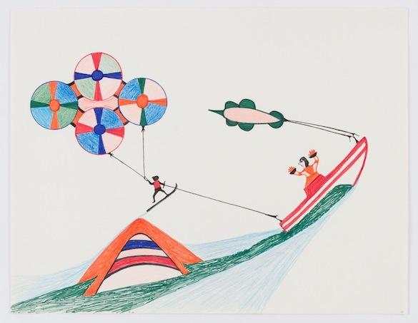 """Vue de l'exposition Arvo Leo """"Fish Plane, Heart Clock"""", La Loge, Bruxelles, 2015."""