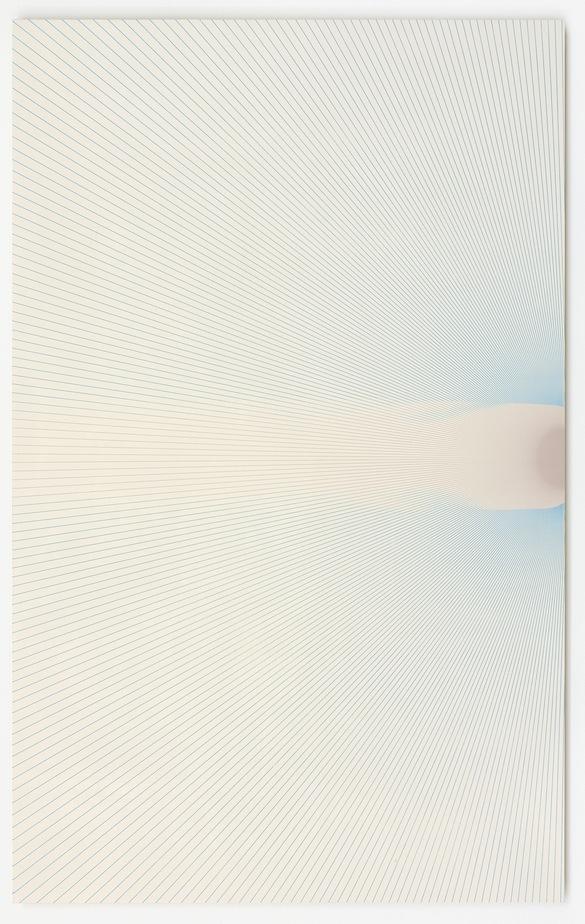 R. H. Quaytman, Preis, Chapter 28, 2015. Encre sérigraphique, gesso sur bois, 62,87 × 101,6 × 1,91 cm. Photo : Lothar Schnepf. © R. H. Quaytman Courtesy Galerie Buchholz, Berlin / Cologne.