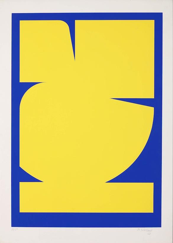 Jo DELAHAUT Sérigraphie n°6 jaune-bleu, 1968. INV 11782. Collection de l'Etat belge © Vincent Everarts