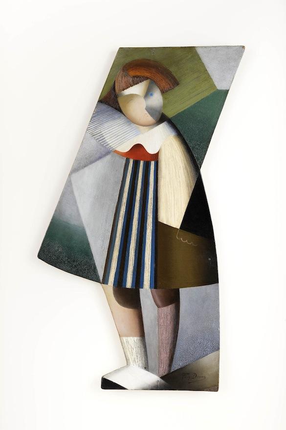 Marthe DONAS, Poupée Cubiste, 1918. Huile sur panneau, 69,4 x 41,2 cm. Collection privée, courtesy Roberto Polo Gallery, Bruxelles.