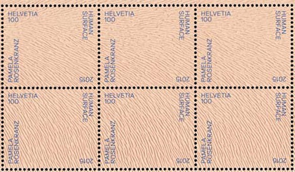 Pamela Rosenkranz, Timbre suisse, 2015 / Swiss stamp designed by Pamela Rosenkranz, 2015. 33x28mm chaque/each.