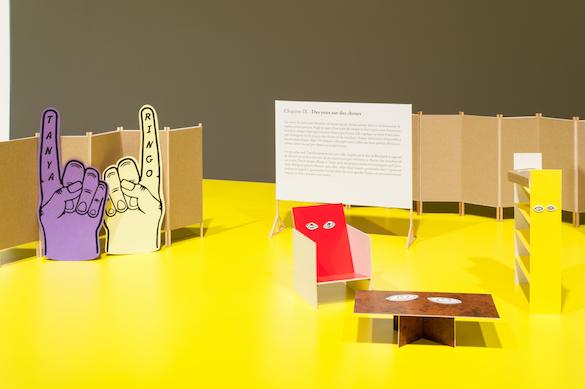 Vue de l'exposition Alfred Jarry Archipelago : la valse des pantins - acte 1, Le Quartier, centre d'art contemporain, Quimper, 2015. Photo : Emilie Ouroumov.