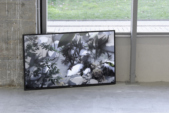 Vue de l'exposition Co-Workers: Beyond Disaster, Bétonsalon –  Centre d'art et de recherche, Paris, 2015. Ian Cheng, Something Thinking of You, 2015, simulation live,  durée infinie. Courtesy de l'artiste et galerie Pilar Corrias. Photo : Aurélien Mole.
