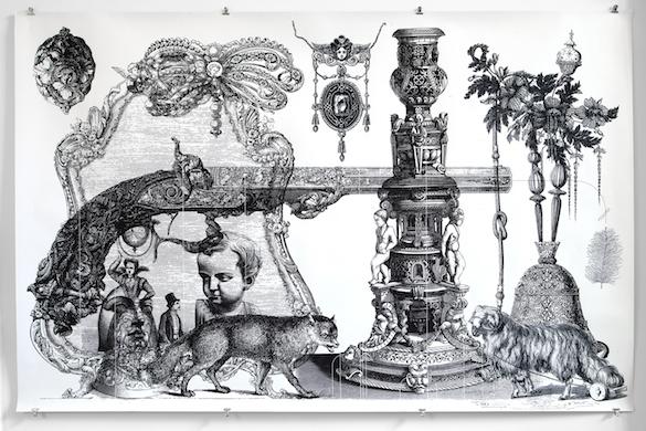 Harmen Liemburg,Black Current, 2008.  Sérigraphie sur papier, impression numérique sur papier. ©Isabelle Giovacchini / ADAGP.
