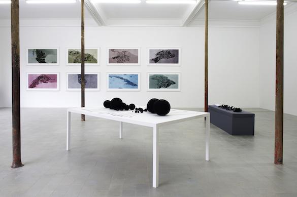Vue de l'exposition au Grand Café. Au premier plan : Milena Bonilla, Size/To Sell Or To Rent, 2006. Courtesy de l'artiste et Galerie Mor Charpentier. Photo : Marc Domage.