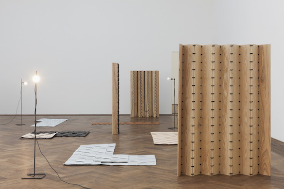 Leonor Antunes, vue de l'exposition / view of the exhibition, « the last days in chimalistac », Kunsthalle Basel, 2013. Photo : Gunnar Meier / Kunsthalle Basel, 2013. Courtesy Air de Paris, Paris.