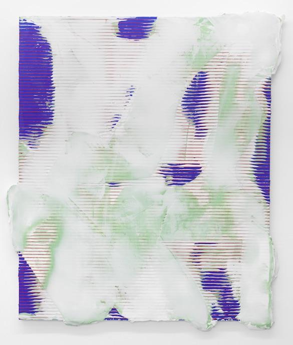 Nicolas Roggy, Sans titre, 2014. Gesso, pâte à modeler, pigment, sérigraphie, sur PVC, 142 × 167 cm. Photo : André Morin ; courtesy Triple V, Paris.