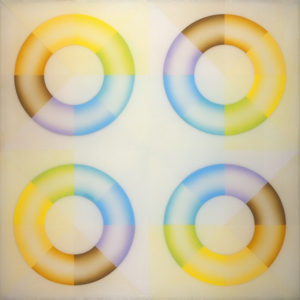 Judy Chicago, Pasadena Lifesavers Yellow Series #2, 1969-70. Laque acrylique sprayée sur acrylique, 152.4 × 152.4 cm. Photo © Donald Woodman