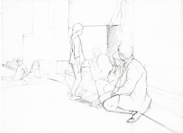 Philippe Parreno, Annlee de Tino Sehgal, dessiné au Palais de Tokyo, 2013. Crayon sur papier.
