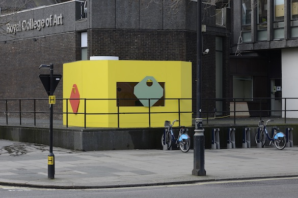 Jean-Pascal Flavien, statement house (temporary title), 2015. RCA, Kensington Road, London, 2,6 × 4,5 × 4,5 m. Courtesy Galerie Catherine Bastide Bruxelles ; Galerie Esther Schipper Berlin.
