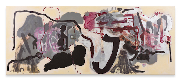 Michaela Eichwald, Der Möbelmarkt muss bleiben, 2016. Acrylique, graphite, huile, vernis, tempera sur cuir synthétique, 130 x 320 cm. Courtesy Michaela Eichwald ; Silberkuppe, Berlin.